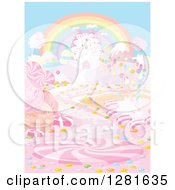 Clipart Of A Rainbow Over A Fairy Tale Castle And Candy Land Royalty Free Vector Illustration by Pushkin