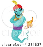 Clipart Of A Handsome Turquoise Male Jinn Genie Emerging From His Lamp And Smiling Royalty Free Vector Illustration by Pushkin