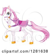 Cute White And Pink Horse Wearing A Saddle And Prancing