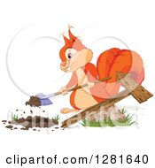 Cute Orange Squirrel Digging A Hole For A Directional Arrow Sign