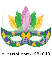 Purple Green And Yellow Diamond Patterned Mardi Gras Mask With Feathers