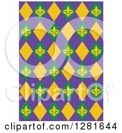 Clipart Of A Purple Green And Yellow Fleur De Lis And Diamond Mardi Gras Background Pattern Royalty Free Vector Illustration