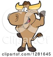 Happy Bull School Mascot Character Standing And Waving by Toons4Biz