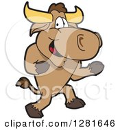 Clipart Of A Happy Bull School Mascot Character Running Royalty Free Vector Illustration by Toons4Biz
