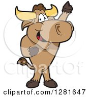 Happy Bull School Mascot Character Standing And Holding Up A Hoof by Toons4Biz