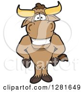 Clipart Of A Happy Bull School Mascot Character With His Hands On His Hips Royalty Free Vector Illustration