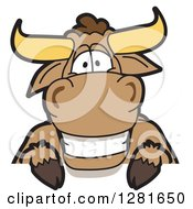 Clipart Of A Happy Bull School Mascot Character Smiling Over A Sign Royalty Free Vector Illustration by Toons4Biz