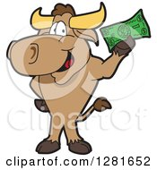Happy Bull School Mascot Character Standing And Holding Cash by Toons4Biz