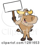 Clipart Of A Happy Bull School Mascot Character Standing And Holding A Blank Sign Royalty Free Vector Illustration by Toons4Biz