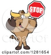 Clipart Of A Happy Bull School Mascot Character Standing And Holding A Stop Sign Royalty Free Vector Illustration