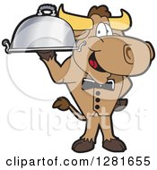 Clipart Of A Happy Bull School Mascot Character Waiter Standing With A Cloche Platter Royalty Free Vector Illustration