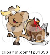 Clipart Of A Bull School Mascot Character Making A Thanksgiving Turkey Bird Think He Weighs More On A Scale Royalty Free Vector Illustration by Toons4Biz