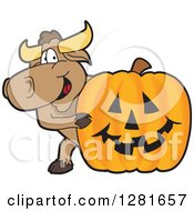 Clipart Of A Happy Bull School Mascot Character Smiling Around A Halloween Jackolantern Pumpkin Royalty Free Vector Illustration by Toons4Biz