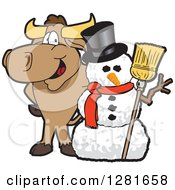 Happy Bull School Mascot Character Standing With A Christmas Snowman by Toons4Biz