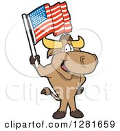 Happy Bull School Mascot Character Standing And Holding An American Flag by Toons4Biz