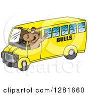 Clipart Of A Happy Bull School Mascot Character Waving And Driving A School Bus Royalty Free Vector Illustration