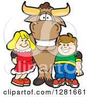 Clipart Of A Happy Bull School Mascot Character Standing With A Caucasian Boy And Girl Royalty Free Vector Illustration