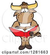 Clipart Of A Happy Bull School Mascot Character Standing And Reading A Book Royalty Free Vector Illustration by Toons4Biz
