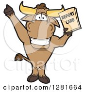 Happy Bull School Mascot Character Standing Cheering And Holding A Report Card