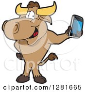 Clipart Of A Happy Bull School Mascot Character Standing And Holding A Smart Cell Phone Royalty Free Vector Illustration by Toons4Biz
