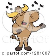Clipart Of A Happy Bull School Mascot Character Standing And Singing Royalty Free Vector Illustration by Toons4Biz
