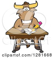 Clipart Of A Happy Bull School Mascot Character Writing At A Desk Royalty Free Vector Illustration by Toons4Biz