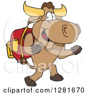 Clipart Of A Happy Bull School Mascot Character Student Walking Upright Royalty Free Vector Illustration