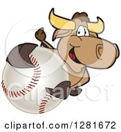 Clipart Of A Happy Bull School Mascot Character Holding Up Or Catching A Baseball Royalty Free Vector Illustration by Toons4Biz