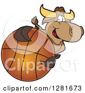 Clipart Of A Happy Bull School Mascot Character Holding Up Or Catching A Basketball Royalty Free Vector Illustration by Toons4Biz