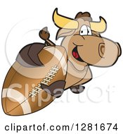 Clipart Of A Happy Bull School Mascot Character Holding Up Or Catching An American Football Royalty Free Vector Illustration by Toons4Biz