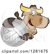 Clipart Of A Happy Bull School Mascot Character Holding Up Or Catching A Volleyball Royalty Free Vector Illustration by Toons4Biz