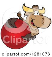 Clipart Of A Happy Bull School Mascot Character Holding Up Or Catching A Red Ball Royalty Free Vector Illustration by Toons4Biz
