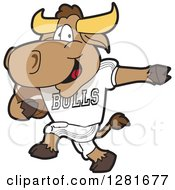 Clipart Of A Happy Bull School Mascot Character Athlete Playing Football Royalty Free Vector Illustration by Toons4Biz