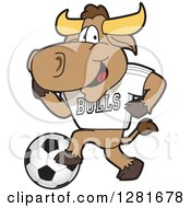 Clipart Of A Happy Bull School Mascot Character Athlete Playing Soccer Royalty Free Vector Illustration by Toons4Biz