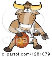 Clipart Of A Happy Bull School Mascot Character Athlete Playing Basketball Royalty Free Vector Illustration by Toons4Biz