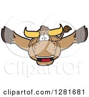 Clipart Of A Happy Bull School Mascot Character Leaping Outwards Royalty Free Vector Illustration by Toons4Biz