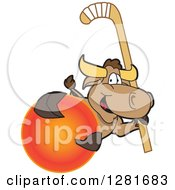 Clipart Of A Happy Bull School Mascot Character Holding A Field Hockey Stick And Ball Royalty Free Vector Illustration by Toons4Biz