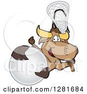 Clipart Of A Happy Bull School Mascot Character Holding A Lacrosse Stick And Ball Royalty Free Vector Illustration by Toons4Biz