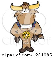 Happy Bull School Mascot Character Standing And Wearing A Sports Medal
