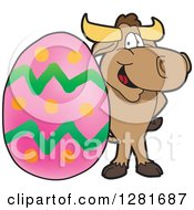 Clipart Of A Happy Bull School Mascot Character Standing With A Giant Easter Egg Royalty Free Vector Illustration by Toons4Biz