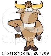 Clipart Of A Happy Bull School Mascot Character Standing And Leaning Royalty Free Vector Illustration by Toons4Biz