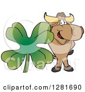 Clipart Of A Happy Bull School Mascot Character Standing With A Giant Four Leaf St Patricks Day Clover Shamrock Royalty Free Vector Illustration by Toons4Biz
