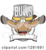 Clipart Of A Happy Bull School Mascot Character Leaping Out Of A Shield And Banner Royalty Free Vector Illustration by Toons4Biz