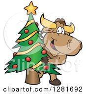 Clipart Of A Happy Bull School Mascot Character Standing And Looking Around A Christmas Tree Royalty Free Vector Illustration by Toons4Biz