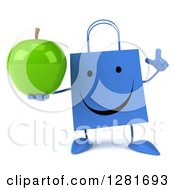 Clipart Of A 3d Happy Blue Shopping Or Gift Bag Character Holding Up A Finger And A Green Apple Royalty Free Illustration