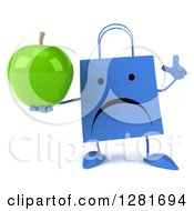 Clipart Of A 3d Unhappy Blue Shopping Or Gift Bag Character Holding Up A Finger And A Green Apple Royalty Free Illustration