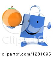 Clipart Of A 3d Happy Blue Shopping Or Gift Bag Character Holding A Thumb Up And An Orange Royalty Free Illustration