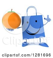 Clipart Of A 3d Happy Blue Shopping Or Gift Bag Character Holding Up A Finger And An Orange Royalty Free Illustration