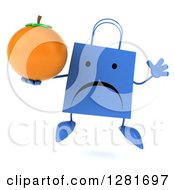 Clipart Of A 3d Unhappy Blue Shopping Or Gift Bag Character Jumping And Holding An Orange Royalty Free Illustration