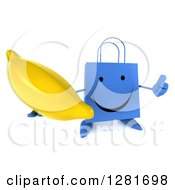 Clipart Of A 3d Happy Blue Shopping Or Gift Bag Character Holding Up A Thumb And A Banana Royalty Free Illustration